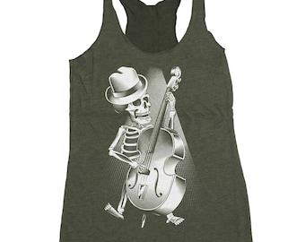 Halloween Bass Guitar Shirt - Womens Bass Player Shirt - Skeleton Playing Bass Hand Screen Printed on a Womens Tank Top
