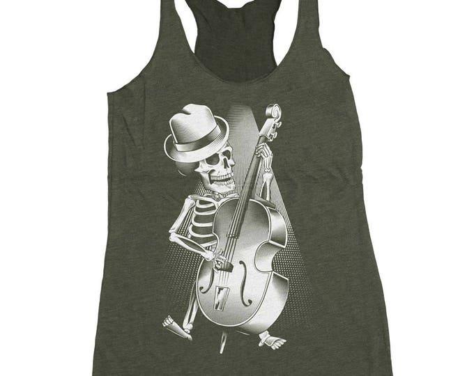 Halloween Bass Guitar Shirt - Womens Bass Player Shirt - Skeleton Playing Bass Hand Screen Printed on a Womens Tank Top