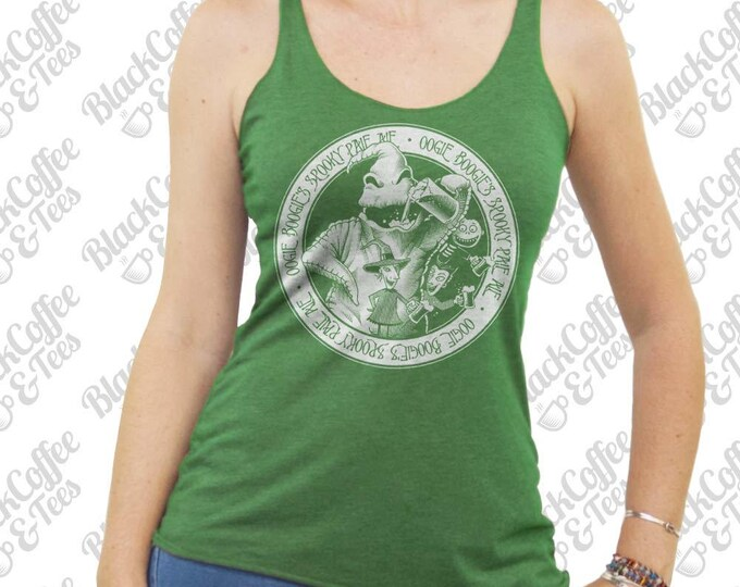 Womens St Patricks Day Shirt - Nightmare Before Christmas Shirt -Women's Oogie Boogie Beer Shirt- Hand Screen Printed on a Womens Green Tank