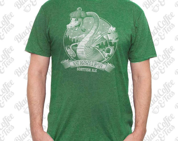 St. Patricks Day Shirt - Loch Ness Monster Shirt - Craft Beer Shirt - Nessie The Loch Ness Monster Hand Printed on a Mens Green T Shirt