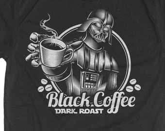 Coffee Shirt - Star Wars Shirt - Darth Vader T-Shirt -  Men's Star Wars T-Shirt - Darth Vader Drinking Coffee Screen Printed on a Mens Shirt
