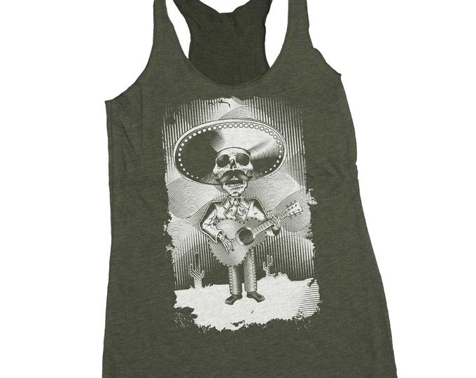 Day of Dead Shirt - Guitar Shirt -Skeleton Playing Guitar Hand Screen Printed on a Womens Tank Top -Mariachi Guitar Shirt - Fun Womens Tank