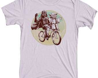 Funny Star Wars Shirt Darth Vader and Yoda Riding a Bike