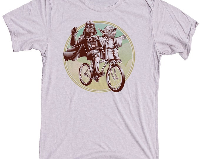 Funny Star Wars Shirt Darth Vader and Yoda Riding a Bike
