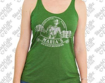 St. Patricks Day Shirt - Maria Metropolis Tank Top - Craft Beer Shirt - Sci Fi Beer Shirt -St Pattys Day Shirt - Womens Green Tank