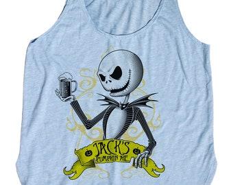 Nightmare Before Christmas Women's Shirt- Jack Skellington Beer Tank Top