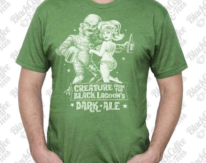 Funny Mens St Patricks Day Shirt - Creature from the Black Lagoon Shirt - Horror Film Shirt -Black Lagoon Dark Ale Printed on a Mens T Shirt