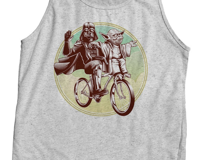 Funny Star Wars Shirt - Yoda & Darth Vader Riding a Bicycle