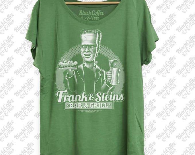 Womens St Patricks Day Shirt -Womens Frankenstein Fashion Fit Dolman- Frankenstein Drinking Beer - Funny St Pattys Day Shirt - Womens Dolman