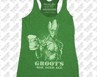 St Patricks Day Shirt - Groot Shirt - Guardians of The Galaxy Groot Shirt - Craft Beer Shirt - Funny Green Shirt- Womens St Pattys Day Tank