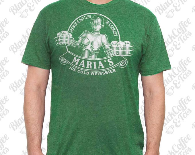 St. Patricks Day Shirt -Maria Metropolis Robot Shirt - Beer Shirt  - Men's Craft Beer Shirt - Hand Screen Printed Mens St Pattys Day Shirt