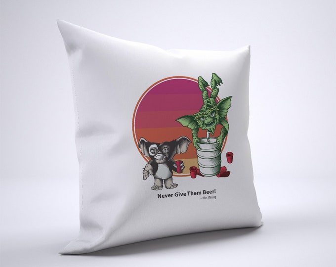 Funny Gremlins Keg Pillow Case Size 20in x 20in