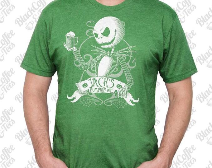 St. Patricks Day Shirt - Jack Skellington Shirt - Nightmare Before Christmas T Shirt - Jack Skellington Printed on a Men's Green T Shirt