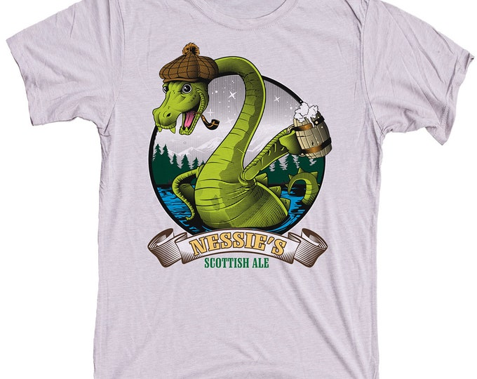 Loch Ness Monster Craft Beer Shirt - Nessie The Loch Ness Monster Drinking Scottish Ale