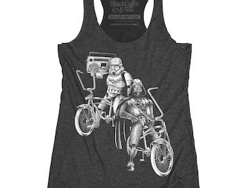 Star Wars Shirt - Bike Shirt - Women's Star Wars Bike Tank Top - Storm Troopers and Darth Vader Riding Bikes Hand Screen Printed on Tank Top