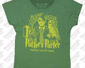 St. Patrick Day Shirt - Womens Harry Potter Shirt -Craft Beer Shirt- Harry Potters Porter -Womens Green Dolman