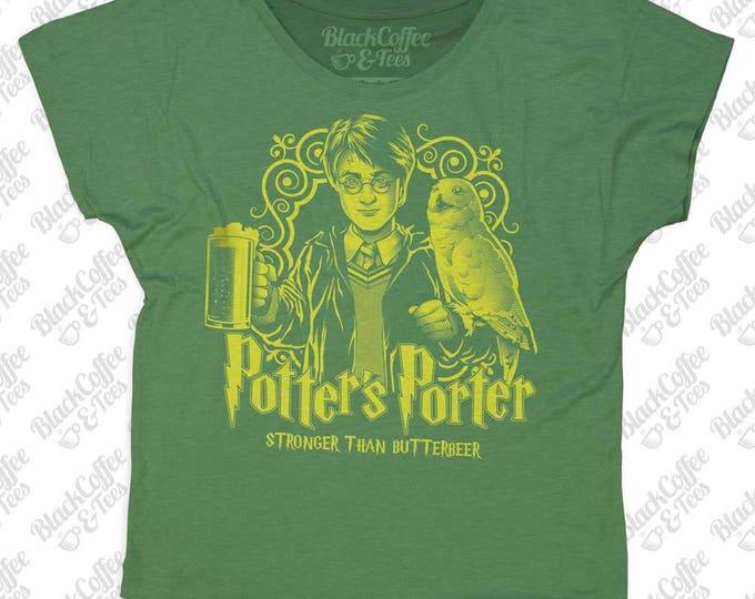 St. Patrick Day Shirt - Womens Harry Potter Shirt -Craft Beer Shirt- Harry Potters Porter -Womens Green Dolman