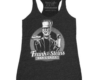 Halloween Frankenstein Shirt - Womens Frankenstein Tank Top - Frank and Steins Bar and Grill Hand Screen Printed tank top.
