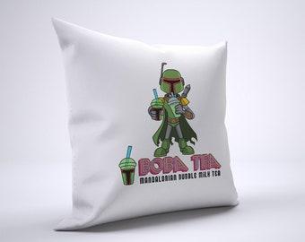 Funny Boba Fett Tea Pillow Case Size 20in x 20in
