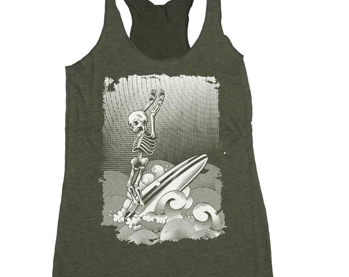 Surfing Shirt - Women's Surf Tank Top - Skeleton Surfing on a Long Board Shirt Hand Screen Printed on a Womens Tank Top - Surfer Shirt