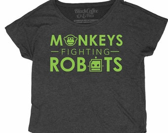 Monkeys Fighting Robots Womens Relaxed Fit