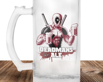 Deadpool Beer Stein - Deadmans Ale - Dead Pool Drinking Beer