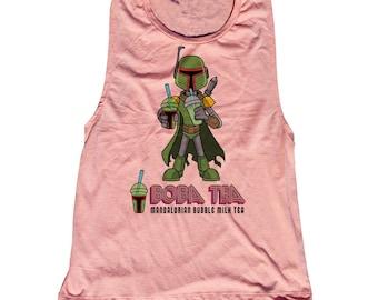 Star Wars Tiki Boba Fett Tank Top. Funny Boba Fett Shirt. Boba Tea
