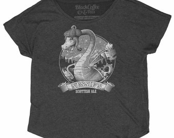 Loch Ness Monster Shirt - Nessie The Loch Ness Monster Drinking Scottish Ale Hand Screen Printed on a Womens Dolman