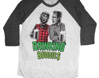 Halloween Wolfman and Frankenstein Drinking Buddies Hand Screen Printed on a Unisex Baseball Tee - Craft Beer Shirt