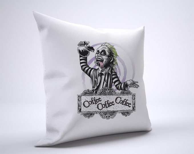 Beetlejuice Coffee Pillow Case Size 20in x 20in