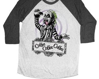 Beetlejuice Shirt - Unisex Beetle Juice T-Shirt - Beetlejuice Drinking Coffee - Unisex Baseball Tee
