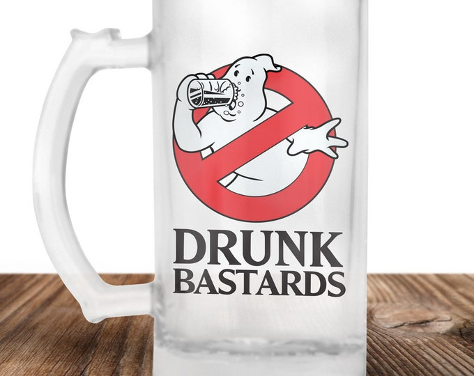 Ghost Busters Frosted Beer Stein - Ghost Busters Gift - Drunk Bastards - Craft Beer Mug