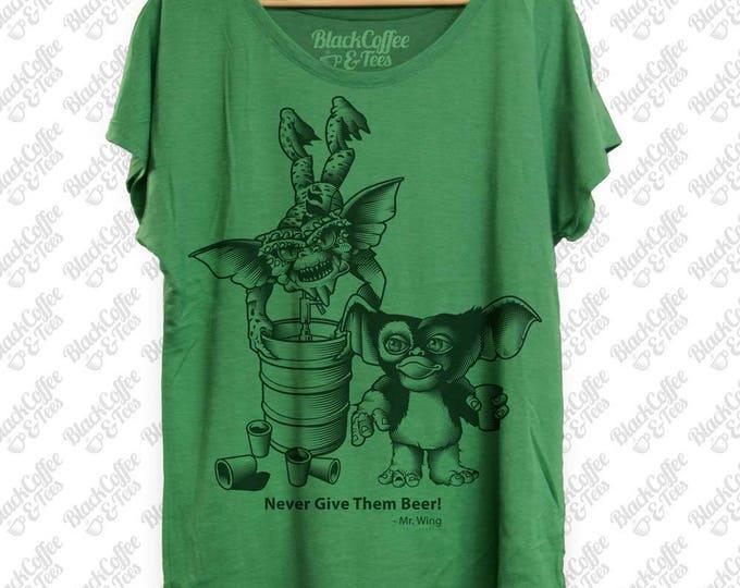St Patricks Day Shirt- Gremlins Beer Shirt - Keg Stand - Womens St Pattys Day Shirt - Womens Craft Beer Green Dolman