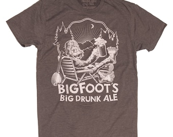 Bigfoot Shirt- Sasquatch Yeti Mens Shirt - Craft Beer Shirt - Big Foot Big Drunk Ale Hand Screen Printed on a Mens T-Shirt- Mens Beer Shirt