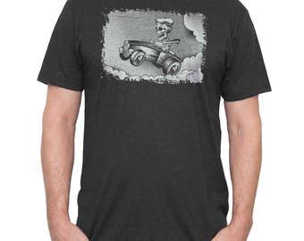 Halloween Hot Rod Shirt - Mens Muscle Car T-Shirt - Skeleton Driving a HotRod Hand Screen Printed on a Mens Shirt