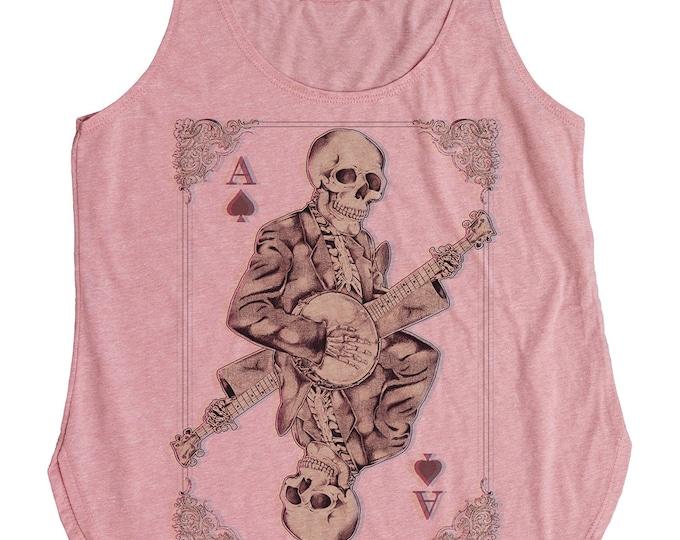 Halloween Banjo Shirt - Women's Banjo Shirt of Skeleton Playing Banjo