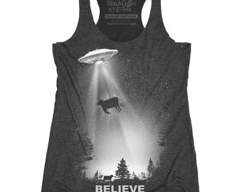 UFO Shirt - Womens Alien T-Shirt - UFO Shirt - I Believe SHirt Hand Screen Printed on a Womens Tank Top