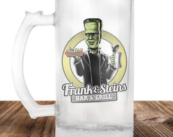 Frankenstein Beer Stein - Frank and Stein Bar and Grill-  Cult Horror Gift - Craft Beer Mug