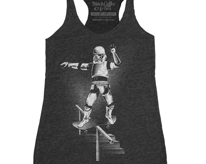 Womens Skateboarding Shirt of Funny Star Wars parody
