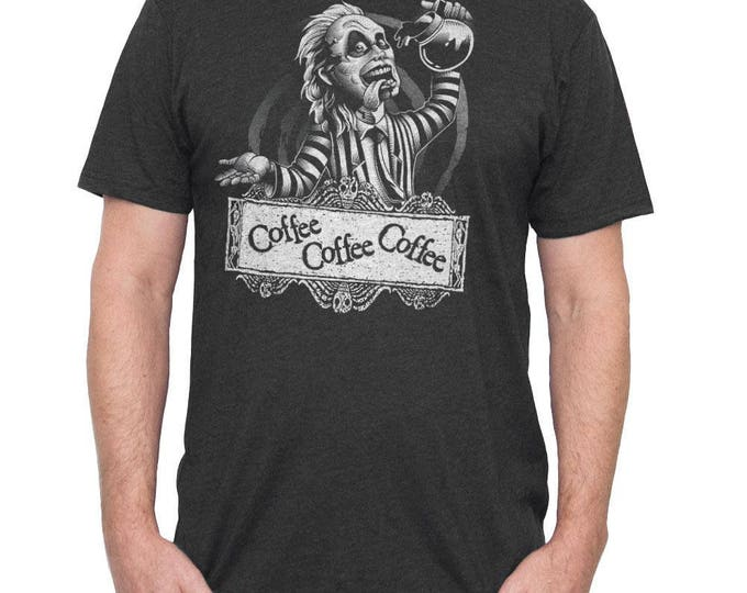 Beetlejuice Halloween Shirt - Mens Beetle Juice T-Shirt - Beetlejuice Drinking Coffee - Mens Shirt