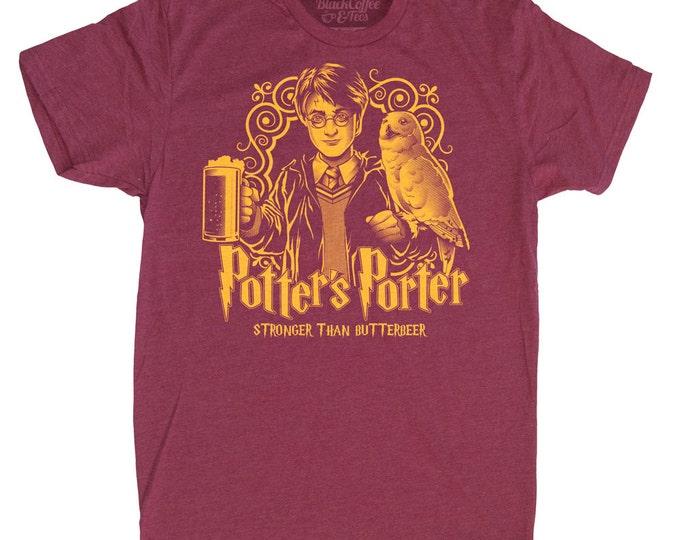Harry Potter Shirt -Mens Beer Shirt - Harry Potters Porter Shirt - Butter Beer Hand Screen Printed on a Mens T-Shirt -Mens Craft Beer Shirt