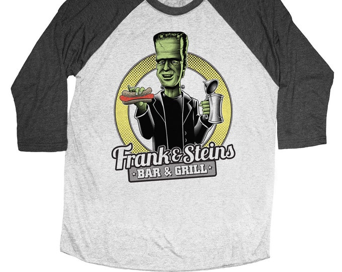 Frankenstein Beer shirt - Frank and Steins Bar and Grill on a Unisex Baseball Tee