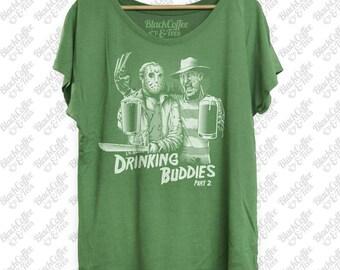 St Patricks Day Shirt- Friday the 13th Halloween Shirt of Freddy & Jason -Horror Film Shirt - Beer Shirt - St Pattys Day Green Womens Dolman