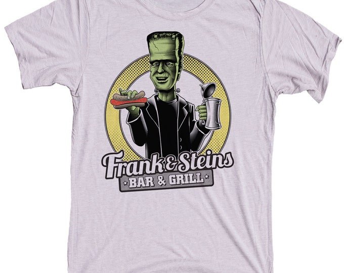Men's Frankenstein Shirt- Beer and Hot dog Shirt - Frank N Steins Bar and Grill Mens Shirt