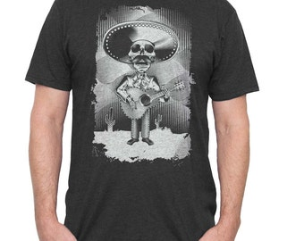 Men's Day of The Dead Shirt - Guitar Day of the Dead Shirt - Men's Guitar Mariachi Sugar Skull Shirt Hand Screen Printed on a Mens Shirt