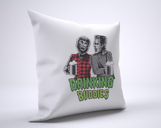 Funny Wolfman And Frankenstein Drinking Pillow Case Size 20in x 20in