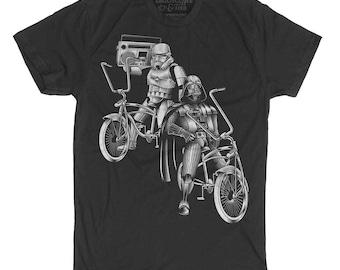 Darth Vader Shirt- Bike Shirt -Darth Vader Storm Trooper Bike Hand Screen Printed on Men's T-shirt-Bike Shirt- Storm Trooper Mens Shirt