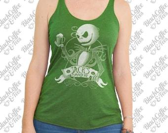 St. Patricks Day Shirt - Jack Skellington Shirt - Nightmare Before Christmas Women's Shirt- Jack Skellington Beer Printed on a Green Top
