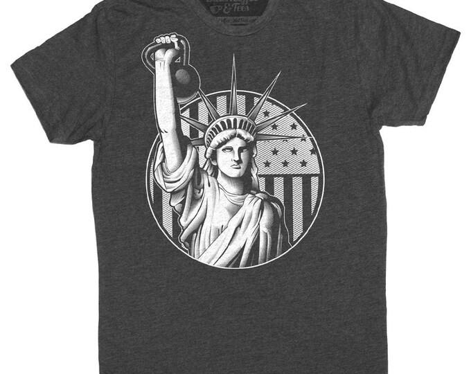 Gym Shirt -Corssfit Shirt- Gym Tshirt - Mens Workout Shirt-Lady Liberty Kettlebell Shirt Hand Screen Printed on a Mens Shirt -Mens Gym Shirt