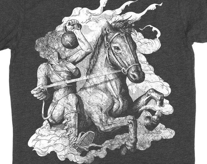 Halloween Gym Shirt - Mens Kettlebell Shirt - Gym Shirt - Headless Horseman With a Kettle Bell Hand Screen Printed on a Mens T-Shirt